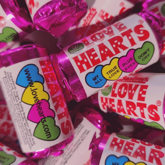 Close up of Swizzels Love Hearts sweets