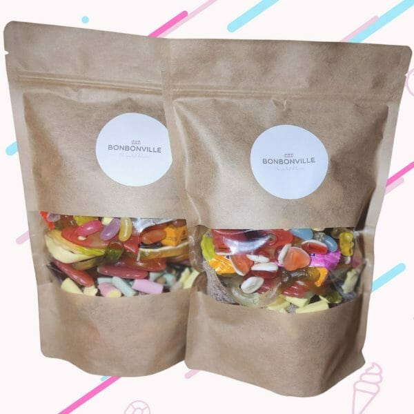 2 1KG pouches of Haribo sweets.
